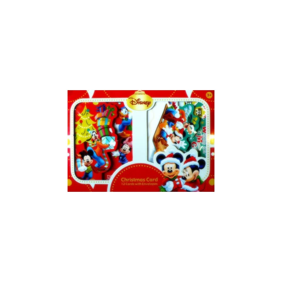 12pcs Disney Mickey Minnie Mouse Christmas Card with Envelopes (6 Designs, with Foldable Pop up too  LICENSED)