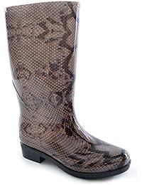 Womens/Ladies Snake Skin Effect PVC Wellington Boots (UK Shoe 7, EUR 40) (Snake Skin)