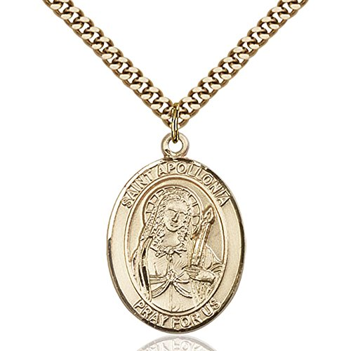 Gold Filled St. Apollonia Pendant 1 X 3/4 Inches With Heavy Curb Chain