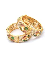 Raniya's Antique Collection Golden Color Broad Bangle For Women