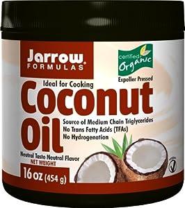 Jarrow Formulas Coconut Oil 100% Organic, 16 Ounces (Pack of 2)