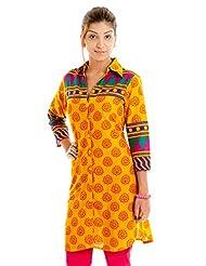 Naksh Jaipur Printed Shirt Style Yellow Straight Kurta