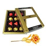 Valentine Chocholik Premium Gifts - Adorable Treat Chocolates With 24k Gold Plated Rose