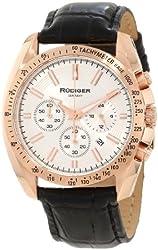 Rudiger Men's R1000-09-001L Dresden Rose Gold IP Silver Luminous Dial Black Leather Chronograph Tachymeter Watch