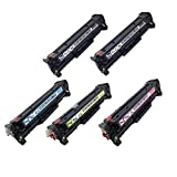 SPEEDY TONER HP 304A High Quality Remanufactured Toners Cartridges Replacement for Hip Color LaserJet CP2025, CM2320 - Set of 5, Black/Cyan/Magenta/Yellow
