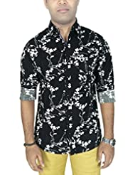 AA' Southbay Men's Black Printed 100% Cotton Long Sleeve Casual Shirt