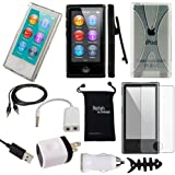 DigitalsOnDemand ® 11-Item Accessory Bundle Kit for Apple iPod Nano 7th Generation 16GB (Newest Model) - Slim Case Cover, Case with Clip, USB Cables + Chargers, Ultra Clear Screen Protector