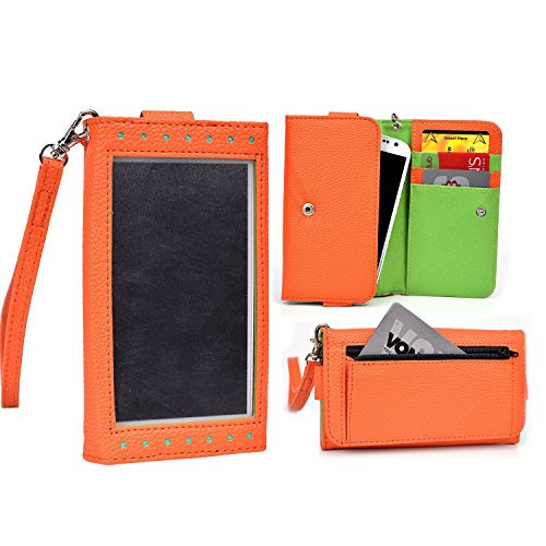 Cooper Cases(TM) Expose Women's Clutch Verykool RS75 Flint / s401 Aura Smartphone Wallet Case in Orange / Lime (Elegant Dual-Tone Leather, Built-in Plastic Screen Shield, Credit Card/ID Slots, Billfold, Zipper Pocket, Carrying Strap)