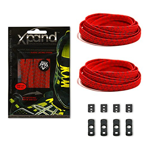 Xpand No Tie Shoelaces System with Reflective Elastic Laces - Red - One Size Fits All Adult and Kids Shoes (Lock Laces Red compare prices)
