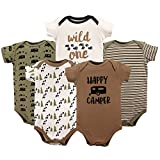 Luvable Friends Baby Infant Basic Bodysuit, 5 Pack, Happy Camper, 6M(3-6 Months)
