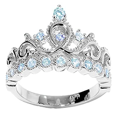 14K Gold Princess Crown with Aquamarine Birthstone Ring (March Birthstone)