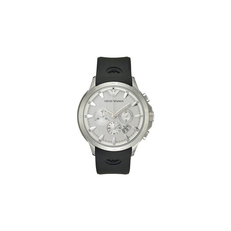 Emporio Armani Mens AR2432 Chronograph Stainless Steel and Black Leather Watch