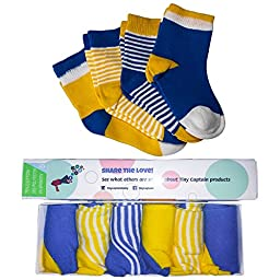 Boys Baby Socks ( 6 PACK) For Babies, Infants, and Toddlers From Tiny Captain (Small, Blue and Yellow)