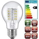 Die schicke + helle ENERGIESPARLAMPE LED Glühlampe klar (NUR 4,1Watt, 80 LED's, E27, warmweiß)