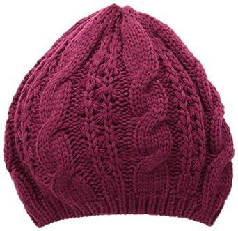 La Fiorentina Women's Acrylic Cable Knit Beanie Hat, Dark Raisin, One Size