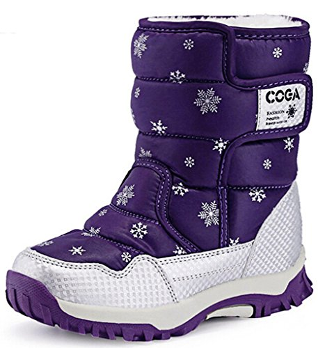 DADAWEN Kid's Boy's Girl's Frosty Winter Boot (Toddler/Little Kid/Big Kid) Purple US Size 9 M Toddler