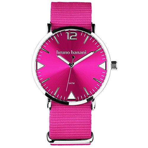Bruno Banani Homme Montre bracelet pour femme + Charm Fée-Textile/en nylon bracelet à quartz cadran rose ubr30054