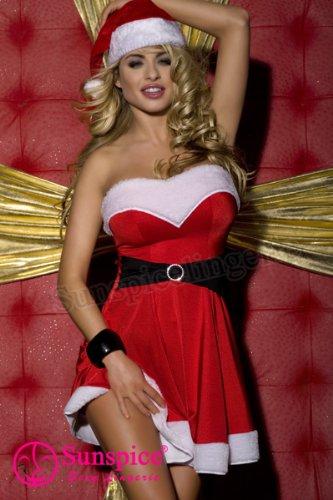 Sexy Weihnachts Kostüm Dessous Gogo 2 teilig Nikolaus Damen Weihnachten Christmas SD081 @