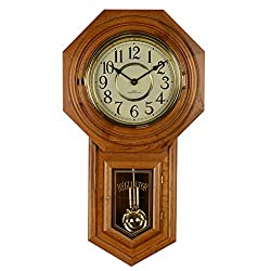 HENSE Chiming Regulator Wall Clock with Swinging Pendulum,Color-Mahogany,Battery Operated HP31 (#C)