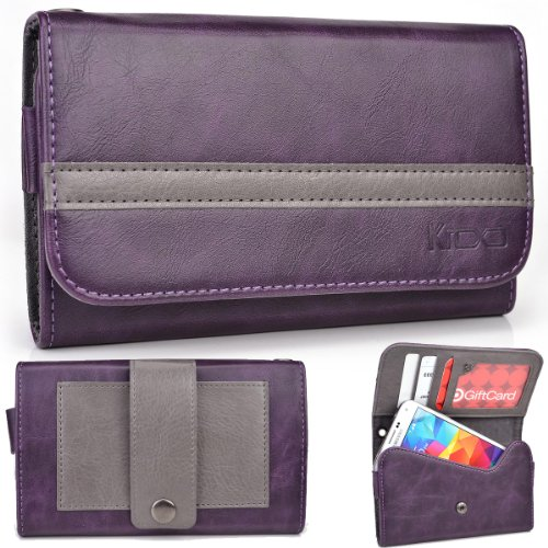 Exxist® Graphite Series. Patent Leather Wallet / Clutch For Archos 43 Internet (Color: Purple / Grey Stripe) -Esmlgpu1
