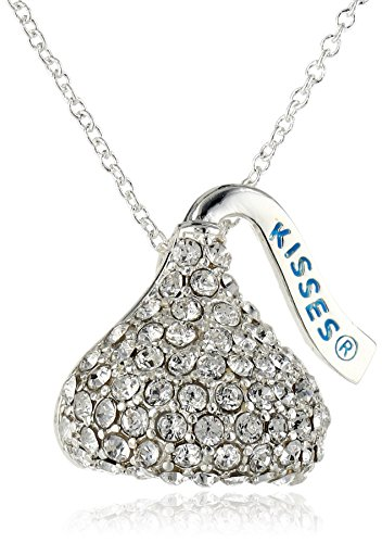Hershey Jewelry Silver-Plated Swarovski Elements Crystal Kiss Pendant Necklace