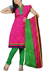 Majaajan Women's Cotton Self Print Unstitched Salwar Suit Dress Material (BNSL0581PNK, Pink, Freesize)