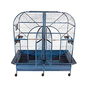 """A&E Cages 64""""x32"""" Double Macaw Bird Cage With Removable Divider White"""