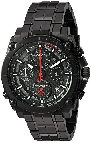 Bulova Men's 'Precisionist' Quartz Stainless Steel Automatic Watch, Color:Black (Model: 98B257) (Bulova Carbon Fiber Watch compare prices)