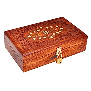 Great Birthday Gift Ideas Handmade Decorative Wooden Jewelry Box With Free Lock & Key Jewelry Organizer Keepsake Box Treasure Chest Trinket Holder Lock Box Watch Box 8 x 5 Inch Anniversary Gifts Her