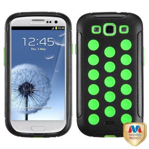 Fits Samsung I747 L710 T999 I535 R530 I9300 Galaxy S Iii Hard Plastic Snap On Cover Natural Black/Electric Green Tuff Hybrid At&T