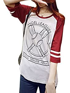Ladies 3/4 Raglan Sleeves Round Neck Letters Baseball Prints Tops