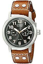 "Citizen Men's AO9030-05E  Eco-Drive ""Avion"" Brown Leather Strap and Stainless Steel Watch"
