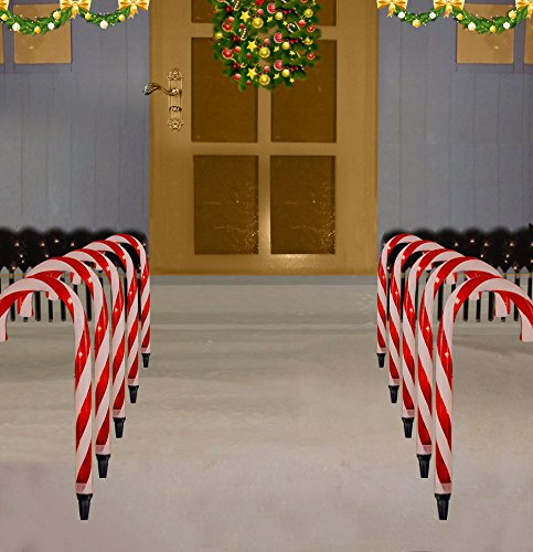 Prextex Christmas Candy Cane Pathway Markers 10 Indoor