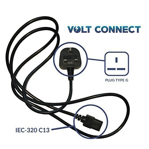 Voltconnect UKPCEIC British UK Fused Plug Type G BS-1363 Ouput to IEC-320 C13 Input - 6'/1.8m PC Power Cord
