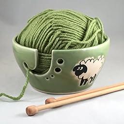 Ceramic Yarn Bowl, Winter Green Glaze, Hand painted Sheep ,Knitting Bowl, Yarn organizer, Ready to Ship
