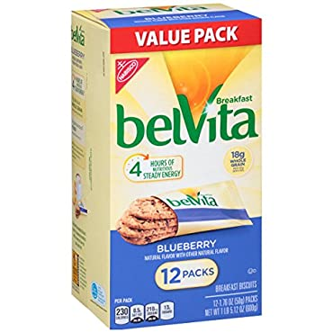 Start your day right with wholesome belVita Blueberry Breakfast Biscuits. These lightly sweet, crunchy biscuits are made with high-quality and wholesome ingredients, like rolled oats and real blueberries. The sustained energy provided by belVita Brea...
