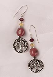 Earrings - Tree of Life with Rhodonite