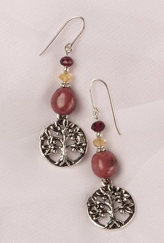 Tree of Life Earrings with Rhodonite Bead