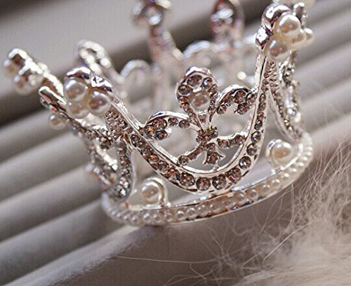 Bridal Wedding Party Baby Pearl Rhinestone Full Circle Round Mini Crown Tiara Princess Crown