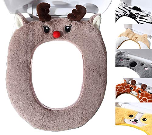 Dream Bridge Bathroom Warmer Toilet Seat Covers Cute Plush Thickened Toilet Seat Cushion Restroom Soft Cartoon Seat Pad Toilet Décor Mat Gift