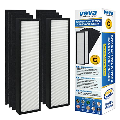 Premium True HEPA Replacement Filter 2 Pack Including 6 Carbon Pre Filters for AC5000 Series Germ Guardian Air Purifier, Filter C by Veva Advanced Filters (Germ Guardian Air compare prices)