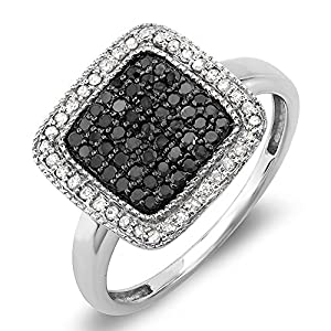 0.50 Carat (ctw) Sterling Silver Round Black & White Diamond Ladies Cocktail Ring 1/2 CT (Size 7)