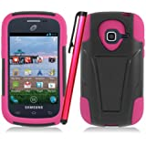 [ManiaGear] Heavy Duty Armor Case Combo Black/Hot Pink Case Samsung Galaxy Centura S738C + Stylus Pen (TracFone/Straighttalk/Net 10)