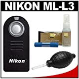 Nikon ML-L3 Wireless Infrared Shutter Remote Control + Nikon Cleaning Kit for for SLR D7000, D5100, D3200, 1 V1, J1, J2 & Coolpix P7100, P7700 Digital Cameras