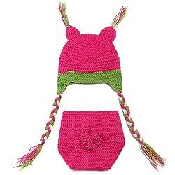 DAYAN Cute Cartoon Infant born Baby Girl Boy Crochet Beanie Hat Clothes Baby Photograph Props by DAYAN