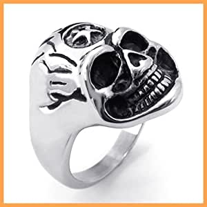 aooaz jewelry vintage biker lucky evil skull ring for