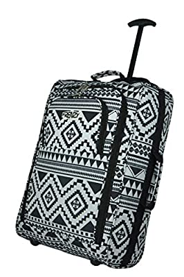 Frenzy/5Cities Lightweight Hand Luggage Bag - Approved Ryanair 2 Wheeled Cabin Baggage. 42L Travel Suitcase Holdall Includes Padlock! (Aztec Black/White + Flight Bag) Color: Black/Blue 612 Size: 50CM by 5 Cities