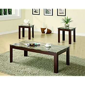 Coaster Home Furnishings3 Piece Faux Marble Top Coffee Table and End Table Occasional Set - Cherry