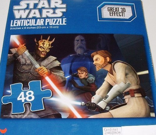 "Star Wars 48 Piece 3D Lenticular Puzzle Savage Opress Sith Lord 9"" X 6"" (Lightsaber Duel Anakin Skywalker Obi-Wan Kenobi Count Dooku!) front-859475"