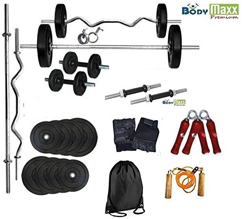 Body Maxx 34 Kg Home Gym Rubber Weight Plates + 1 No x 3Ft Ez Curl Bar + 1 No x 5 Ft Straight Bar + 2 Dumbells Rods 14 Inches + Gloves + Rope + Gym Bag + Hand Grippers + Locks (Home Gym Set)